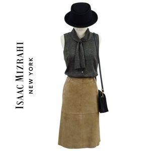 ISAAC MIZRAHI Tan Suede A-line Skirt US4